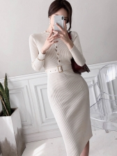 Ribbing Knitted Single-Breasted Ladies Sweater Dress