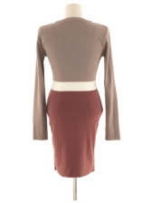 Fitted Contrast Color Bodycon Sweater Dress
