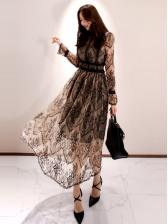 Graceful Lace Patchwork Long Sleeve Midi Dress