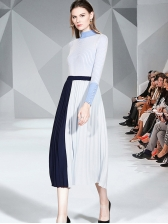 Mock Neck Knit Sweater With Contrast Color Pleated Skirt