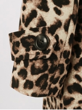 Tunic Leopard Printed Lace Up Long Coat