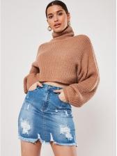 Easy Matching Ripped Blue Denim Skirt For Women