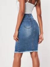 High Waist Fitted Ripped Denim Blue Half Skirt