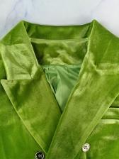 Double-Breasted Lapel Collar Velvet Blazer