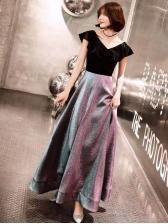 Korean Style Glitter Short Sleeve Evening Dress