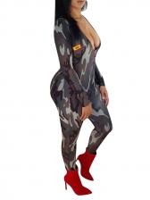 V Neck Camouflage Long Sleeve Jumpsuit