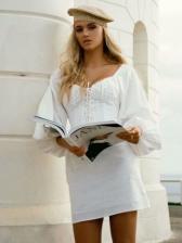 V Neck Lace Up White Long Sleeve Bodycon Dress
