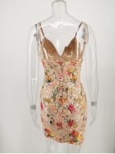 Deep V Neck Floral Sleeveless Sequin Dress