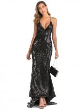 Backless Floor-Length Black Sequin Evening Dress