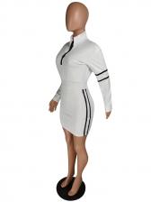 Sporty Long Sleeve Bodycon Dress For Women