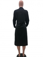 Single-Breasted Solid Long Sleeve Shirt Dress