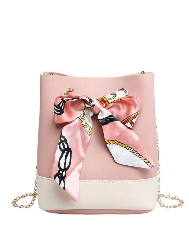 Contrast Color Silk Scarf Decor Golden Chain Bucket Bag