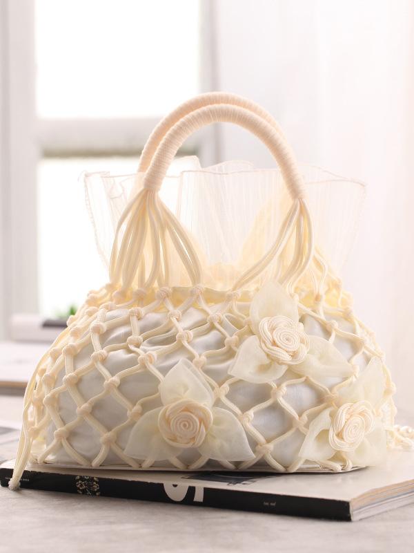 Vintage Style Stereo Flower Rope Weave Tulle Handbags