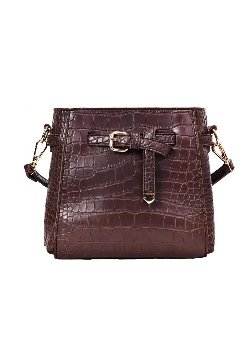Alligator Print Pu Solid Color Crossbody Shoulder Bag