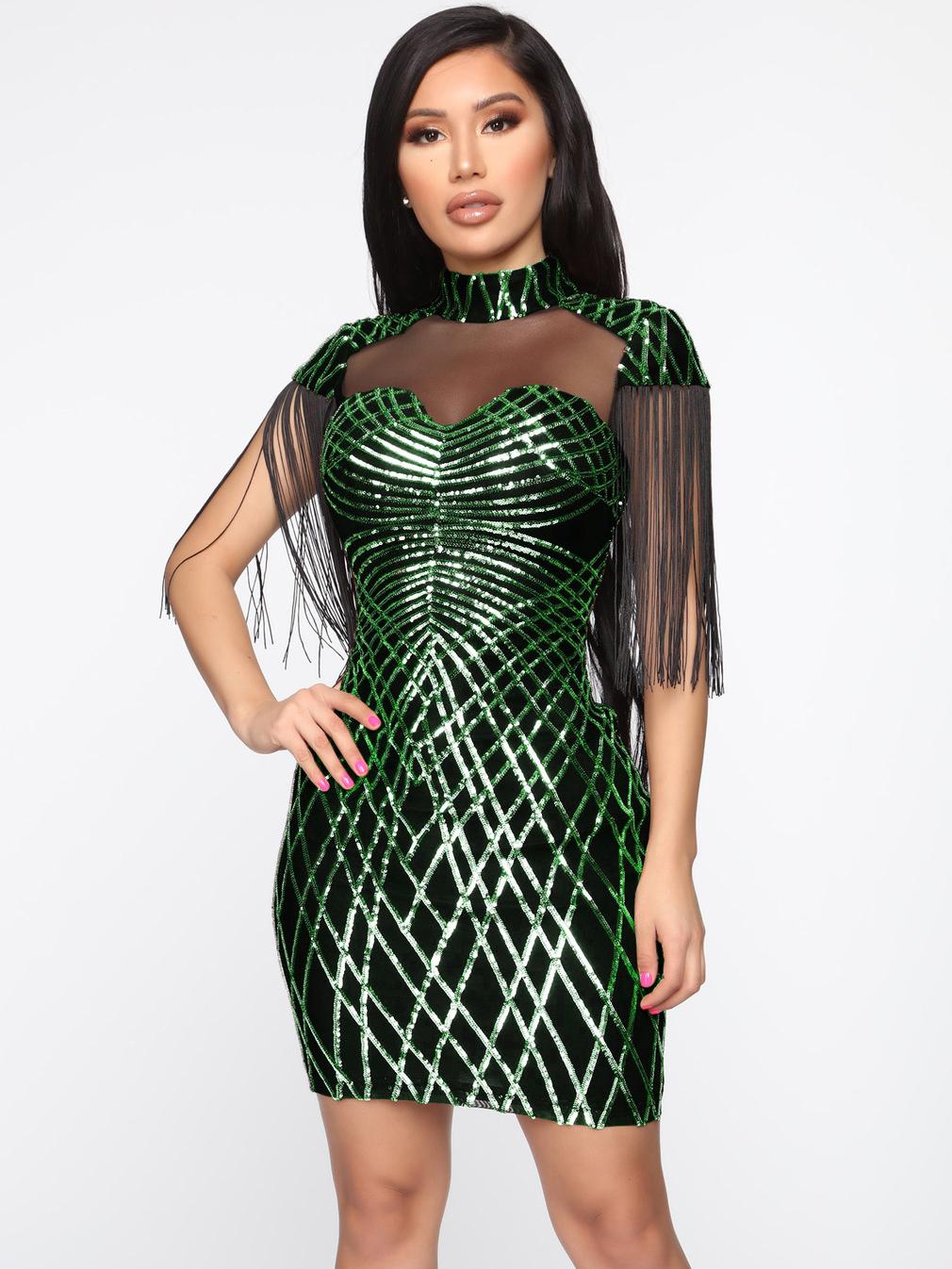 Gauze Panel Tassel Sleeve Ladies Sequin Dress