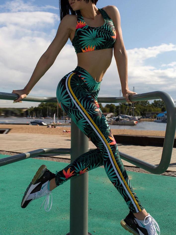 Floral Tank Top Sport Women's Pant Suits