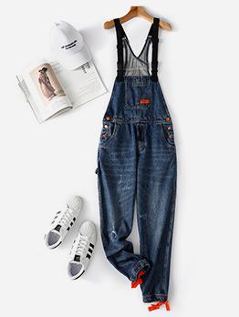 Slim Fitted Pockets Suspender Blue Jeans
