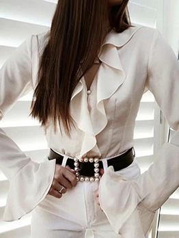 Ruffled Flare Sleeve White Blouse