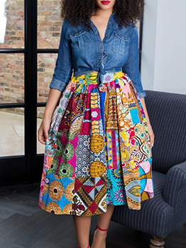 National Style Printed Skirts For Women