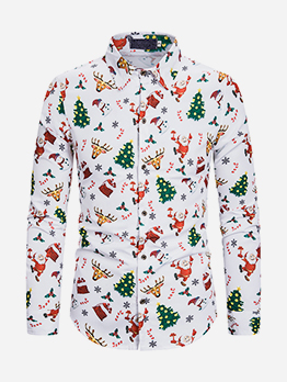Leisure Long Sleeve Men Christmas Shirts