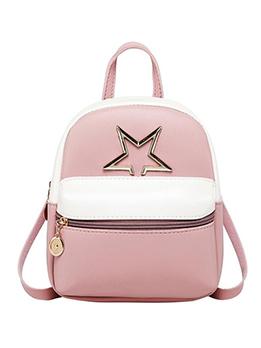 Metal Pentagram Contrast Color Women Mini Backpack
