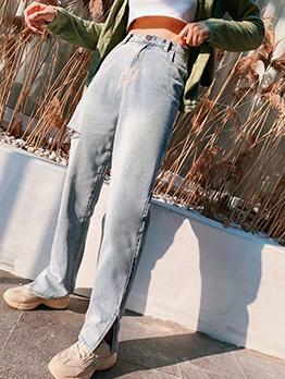 Smart Waist Split Ripped Jeans