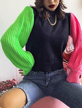 Contrast Color Lantern Sleeve Crew Neck Sweater