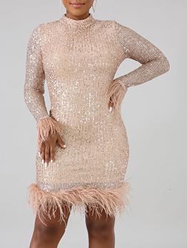 Feather Hem Long Sleeve Sequin Dress