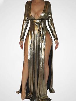 Sexy Low Cut Split Hem Gold Evening Dress For Women