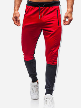 Sporty Contrast Color Drawstring Jogger Pants