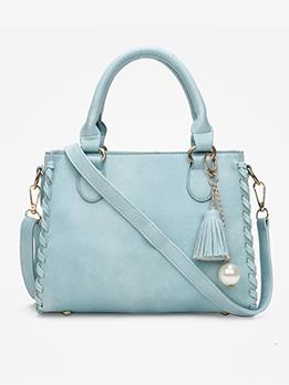 Solid Color Tassel Pendant Ladies Handbags For Work