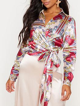 Printed Silk Bow Long Sleeve Blouse