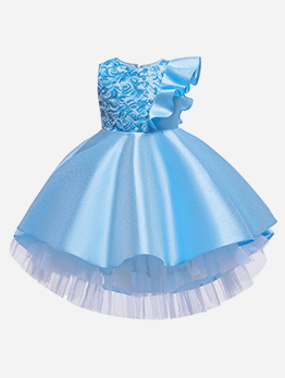 Sequined Ruffled Patchwork Tulle Flower Girl Dresses
