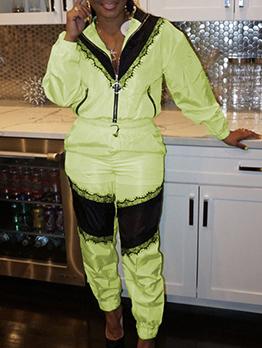 Lace Panel Long Sleeve Zipper 2 Piece Pants Set