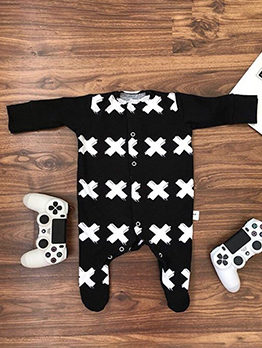 Animal Cross Printed Long Sleeve Baby Sleepsuit