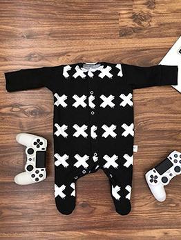 Animal Cross Printed Long Sleeve Baby Sleepsuit