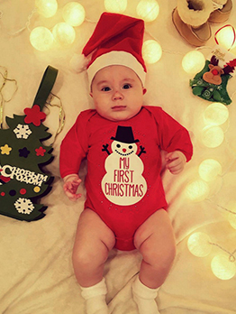Christmas Long Sleeve Snowman Printed Baby Romper