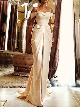 Off Shoulder Draped Champagne Evening Dress