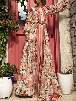 Autumn Split Hem Long Sleeve Floral Maxi Dress