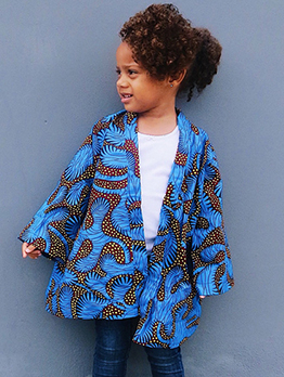 Bohemian Geometric Printed Girls Coats