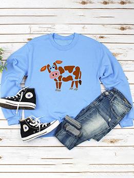 Autumn Cow Pattern Women Pullover Sweatshirt
