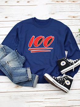 Simple Number Printed Women Long Sleeve Sweatshirt