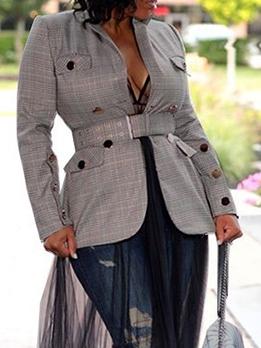 Button Decor Ladies Grey Plaid Blazer For Autumn