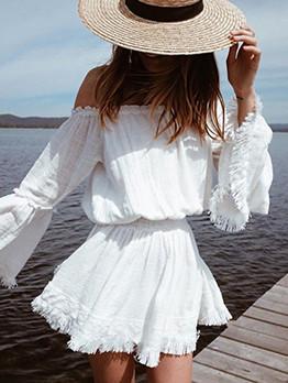 Solid Tassels Flare Sleeve White Dress