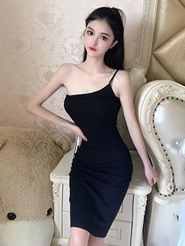 One Shoulder Sleeveless Bodycon Short Dress