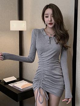Hooded Drawstring Long Sleeve Bodycon Dress
