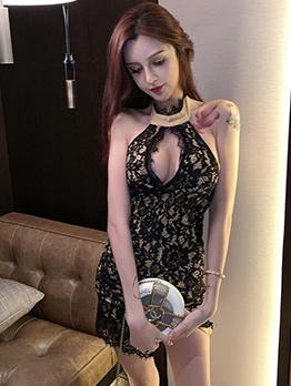 Sexy Low-Cut Sleeveless Lace Dress