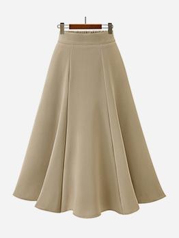 Solid High Waist A Line Midi Skirt