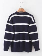 Striped Loose Long Sleeve Ladies Sweater