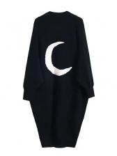 Back Moon Printed Cardigan Long Coat